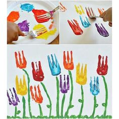 Flower art project-Use a fork for the flower part. Flower art project-Use a fork for the flower part. # artsy flower art project part Kindergarten Art, Preschool Crafts, Crafts For Kids, Arts And Crafts, Art Projects For Toddlers, Art For Toddlers, Diy For Kids, Spring Art Projects, Spring Crafts