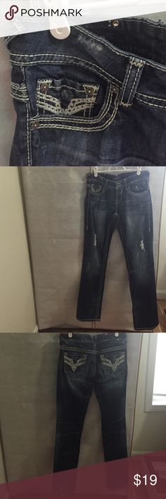 """The Chelsea boot cut"" ""destroyed"" denim ""Destroyed"" on the upper thighs, was designed like that. Very thick material. Worn a lot, bottom of legs are worn (see photo 4), and ripped, but still lots of life left. Accepting reasonable offers. Maurices Jeans Boot Cut"
