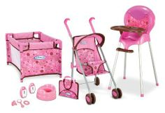 Graco Playset with Stroller by Tolly Tots. $39.99. Fits dolls up to 18-inches. Doll not included. Diaper bag converts into a changing mat. For play on the go or at home. Stroller with canopy folds flat. From the Manufacturer                The Graco Playset with Stroller is the perfect set for doll lovers. This set includes a doll flat fold stroller with canopy, Tea Time High Chair, Pack'n Play Lite, Potty, 2 Monitors,  diaper bag that converts into a changing monitor, pa...