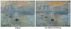 Monet Impression Sunrise painting - the original and our fine art replica for you to compare and contrast. #art #Monet #FabulousMasterpieces