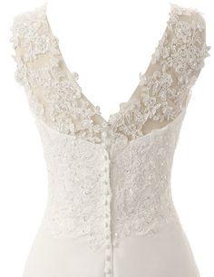 JAEDEN Elegant V-neck A-line Lace Chiffon Long Beach Wedding Dress Ivory US2