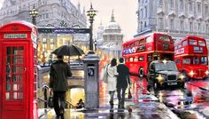 London Street Paint By Number Kit DIY Acrylic Painting on Canvas Artist Painting, Oil Painting On Canvas, Diy Painting, London Street, London Art, London Painting, Venice Painting, Italy Painting, Creation Photo