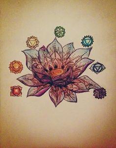 drawing mine tattoo color original henna Lotus Flower chakras