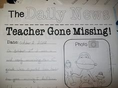 Teacher Gone Missing FREE writing prompt!