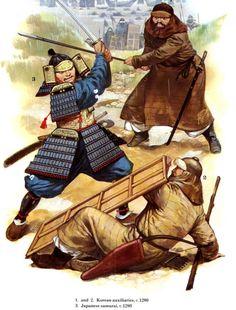 Duel to death between Mongol warrior Korean auxiliary and Japanese Samurai Mongol Invasion of Japan Japanese History, Asian History, British History, Genghis Khan, Bushido, Japanese Warrior, Strange History, History Facts, Samurai Art