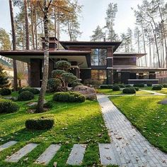 """Prairie House is a new project designed by Yunakov architecture. It is located in Bucha, Kiev, Ukraine. Prairie House by Yunakov Architecture: """"The hardest part of the task set before us was to """"catch"""" the style and proportions of the grea Architecture Durable, Interior Architecture, Architecture Today, Natural Architecture, Amazing Architecture, Chalet Modern, Prairie House, Prairie Style Houses, Mid Century House"""