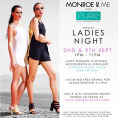 LADIES NIGHT...save the dates! #pureskylounge #newcollections #sale #endofseasonsale #ladiesnight #shopping #clothing #accessories #jewellery #popup #competition #giveaways #hilton #jbr #fashion #style #monroeandme #dubai #uae