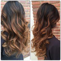 Caramel Ombré on Asian Hair by Heather Mac Hair Design in Calgary, Alberta. 403-685-4321 Insta: @heathermacq #yychairstylist #calgaryhairstylist