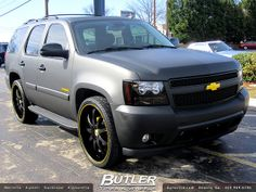 Chevy Tahoe with 26in Lexani LX9 Wheels Flat Black Wrap | Flickr - Photo Sharing!