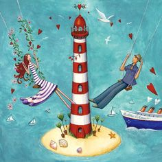 illustrations mila marquis - Page 3 Art And Illustration, Marie Cardouat, Decoupage, Art Fantaisiste, Photo Deco, Lighthouse Art, Whimsical Art, Art Plastique, Cute Drawings