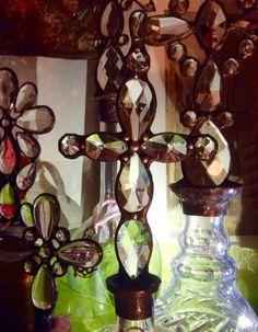 Vintage Crystal Cross Bottle Solder Art Altered by tresorbleu