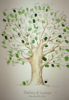 Wedding tree instead of a guestbook! Guests left fingerprints as leaves on the tree, and signed their names. Wedding Tree Guest Book, Guest Book Tree, Tree Wedding, Diy Wedding, Wedding Favors, Wedding Decorations, Wedding Day, Wedding Souvenir, Guest Books