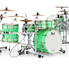 "3,789 Likes, 18 Comments - Pearl Drums Official Page (@pearl_drums) on Instagram: ""Masterworks Series Sonic Select Shell Recipe: URBAN in a Metallic Seafoam Green Lacquer with Ivory…"""