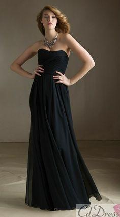 Long black and simple bridesmaid dress