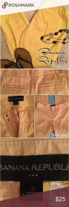 """Banana Republic yellow crop pants 2 BR canary yellow, straight-legged crop pants. No belt loops & no front pockets; double hook and eye front closure and zip fly Two small back pockets. 25"""" inseam, 7"""" rise, and 15"""" flat waist. Perfect condition .💖 Banana Republic Pants Ankle & Cropped"""