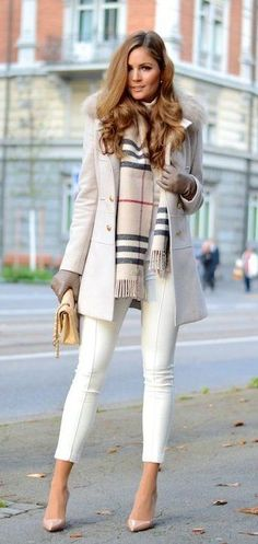 #fall #outfits women's gray button-up coat and white skinny pants