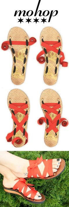 Mohop Wedge Ribbon Sandals come with 5 interchangeable ribbons. All sizes available, wides too! Design your pair today!