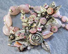 """Комплект """"Пепел розы"""" колье, браслет и серьги - авторское украшение,Украшение ручной работы"""