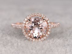 8mm Round Morganite Engagement Ring Diamond Wedding Ring 14k Rose Gold Halo Claw Prongs Curved Basket Under