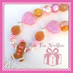 Handmade Gingerbread Chunky Bead Bubblegum by OneFunNecklace, $19.00