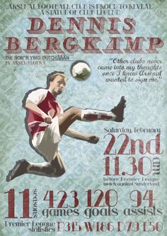Dennis Bergkamp, The Iceman Football Art, Arsenal Football, Sport Football, Football Players, Arsenal Players, Arsenal Fc, Dennis Bergkamp, The Iceman, Soccer Poster