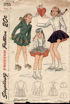 Simplicity 1755 Vintage 1950s Girls Skating Costume Pattern Sz 8