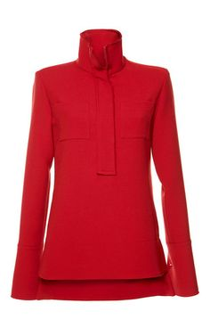 Red Silk Toile Mock Neck Shirt by Marni Now Available on Moda Operandi  Vermelho 735cf1bc84d80