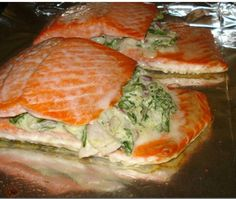 Spinach and feta stuffed salmon 2 ounces fat free cream cheese cup crumbled feta cheese cup chopped onion cup chopped baby spinach 4 salmon fillets Salmon Dishes, Fish Dishes, Seafood Dishes, Fish And Seafood, Salmon Recipes, Fish Recipes, Seafood Recipes, Cooking Recipes, Healthy Recipes