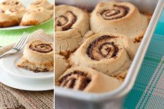 Gluten-free/Dairy-free/Corn-free cinnamon buns with a gooey caramel bottom. Gluten Free Cinnamon Rolls, Gluten Free Baking, Vegan Baking, Gluten Free Desserts, Healthy Desserts, Allergy Free Recipes, Baking Recipes, Snack Recipes, Dessert Recipes