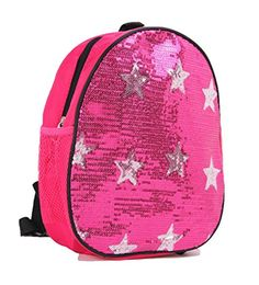 6cbb970cec04 Amazon.com  Dance Bag- Solid Sequin Front With Stars Backpack in Pink  Fushia  Clothing