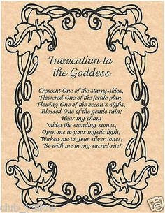 Invocation to the Goddess Book of Shadows Page BOS Pages Wicca Witchcraft Poster