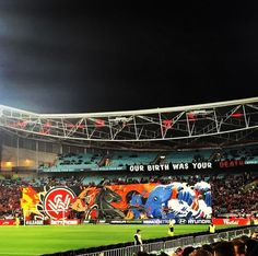 Western Sydney Wanderers - RBB tifo - Derby - against Sydney FC Sydney Fc, Wander, Derby, Westerns, Singing, Soccer, Football, Game, Beautiful