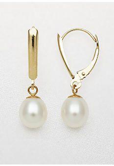 Belk & Co. Yellow Gold Freshwater Pearl Leverback Dangle Earrings #belk #accessories
