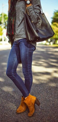 Fall fashion idea - tan booties, skinny jeans, leather purse and leather jacket