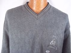 Bill Blass Large Mens Sweater Gray Golf Embroidered Clubs V Neck Clearance #BillBlass #VNeck