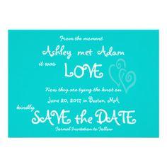 Aqua Teal Love, Hearts Photo Save the Date Card