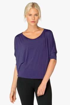 Beautiful deep iris cropped swing top from Beyond Yoga is crazy soft and looks as amazing on as it feels.  Cropped Pullover by Beyond Yoga. Clothing - Tops - Short Sleeve Iowa