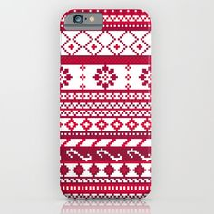 Red Fair Isle Christmas Pattern iPhone & iPod Case