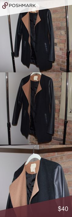 Urban Outfitters Faux Leather Color Block Coat Wool. Best seller, can be dressed up or down. Such a great piece. XS. Urban Outfitters Jackets & Coats