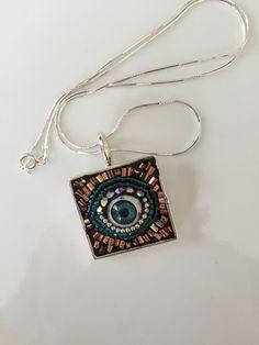 Eye Pendant, Mosaic Jewelry, Micormosaic pendant, Mosaic necklace, evil-eye pendant, Camilla Klein, Handmade pendant, lucky pendant, silver by camillaklein on Etsy