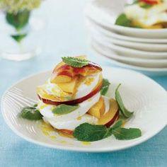 Peach and Mint Caprese Salad with Curry Vinaigrette Recipe | MyRecipes.com