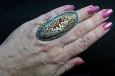 Bold and Sparkly Detroit Agate (aka Fordite) set in a Vintage, Sterling Silver Ring - A Real Statement Piece!! by mrfeld on Etsy