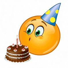 Birthday Cake and Candle Blow Out Animated Smiley Emoji