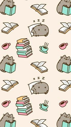 Cute Pusheen cat illustration & drawing & background & screen saver & wallpaper & Sleep study drink coffee and repeat! Wallpaper Gatos, Cat Wallpaper, Cute Wallpaper Backgrounds, Iphone Wallpaper, Cute Kawaii Backgrounds, Trendy Wallpaper, Screen Wallpaper, Mobile Wallpaper, Wallpaper Quotes