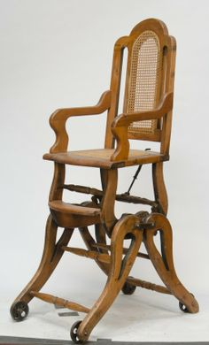 Antique Wooden Combination Baby's High Chair/Rocker c1900's