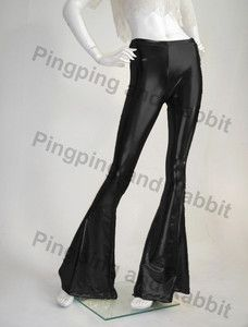 Wet Look Black Shiny Lame Flare Leggings Tights Bell Bottom Pants 70's | eBay