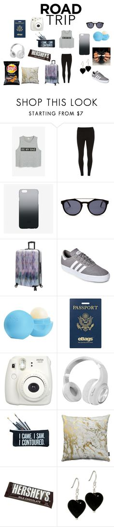 """""""Chill Road Trip Outfit"""" by maylee101 ❤ liked on Polyvore featuring Monki, Dorothy Perkins, C6, Steve Madden, adidas, Eos, eBags, Fujifilm, Polaroid and SugarLuxeShop"""