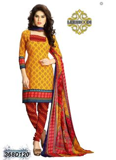 Angellic Red & Yellow Coloured Unstitched Salwar Suit