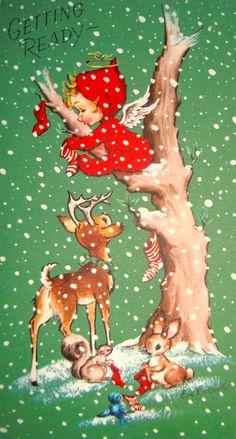 Christmas Angel ~ Vintage Christmas Card!                                                                                                                                                                                 Plus