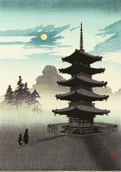 Pagoda at Night, 1930 Kobayashi Eijiro